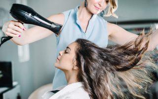 Drying hair in hair salon